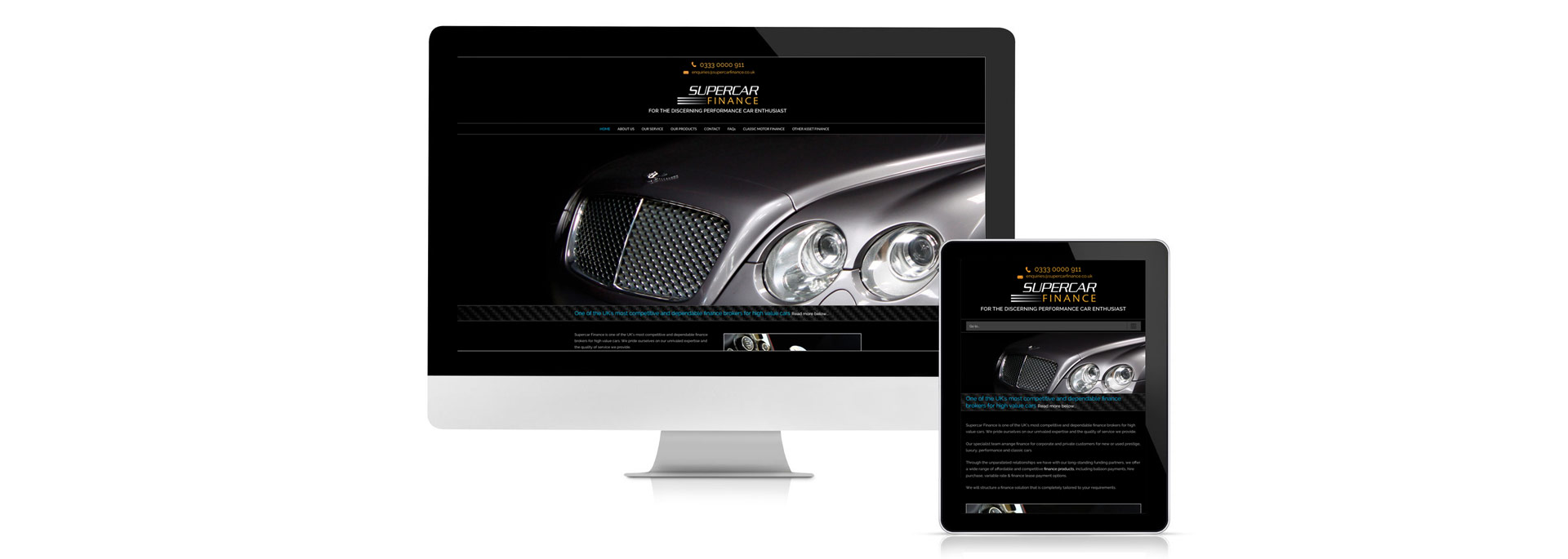 Supercar Finance brand and website design