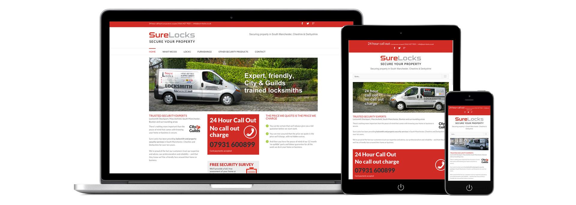 Sure Locks website design Stockport