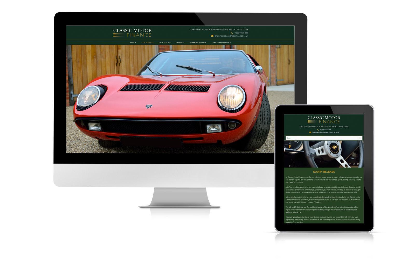 Classic Motor Finance website design