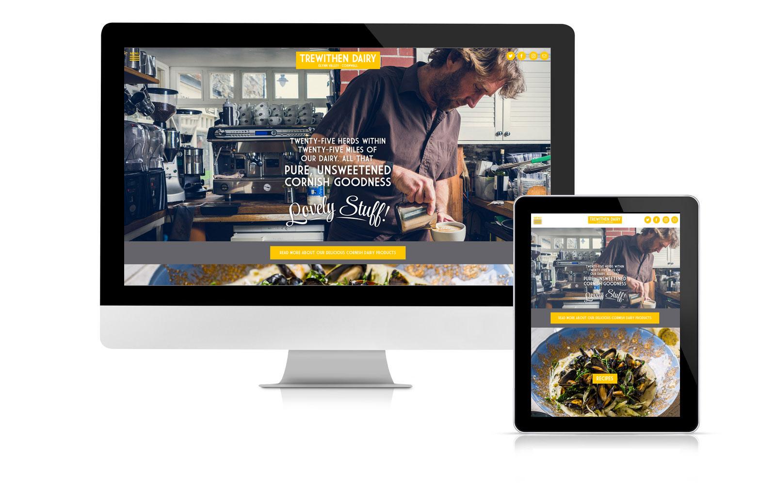Trewithen Dairy website design